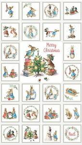 Beatrix Potter Peter Rabbit Christmas Traditions Cotton Fabric Panel 2802C-7