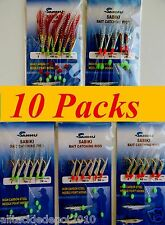 10 Packs Size #2 Sabiki Bait Rigs 6 Hooks Offshore Fishing Lures 5 Packs x 2