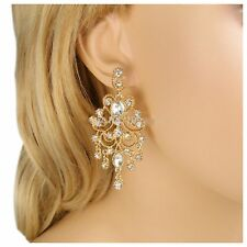 Austrian Crystal Gold Chandelier Earrings Bridal Wedding Bridesmaid Party Prom