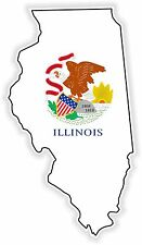 1x STICKER ILLINOIS SILHOUETTE STATE decal USA MAP FLAG