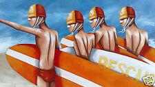 ART PRINT BEACH SURF PAINTING LIMITED 40cm x 70cm 2000s, Abstract, Australia