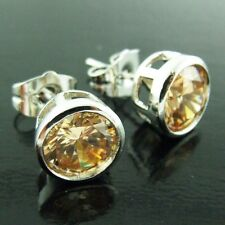 STUD EARRINGS CHAMPAGNE DIAMOND SIMULATED GENUINE 18K WHITE GOLD G/F UNISEX