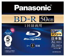 5 Panasonic Bluray Dual Layer 50GB BD-R DL Blank Blu-ray dvd 4x Made in Japan