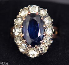 Antique Victorian Large 7Ct. Sapphire & 2Ct. Rose Cut Diamond Ring 14K Gold