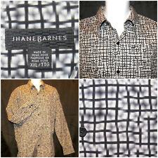 Jhane Barnes Size XXLT Long Sleeve Button Front Shirt Geometric Squares & Lines
