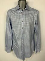 MENS T.M LEWIN BLUE&WHITE CHECK LONG SLEEVE BUTTON SMART/FORMAL SHIRT SIZE 15.5