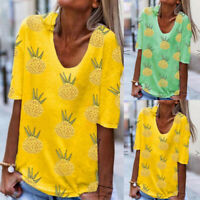 Summer Women Pineapple Print Short Sleeve Shirt Casual O-neck Tunic Tops Blouse