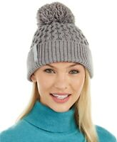 Calvin Klein Solid Grey Cable knit women's Beanie hat one size retail $40