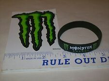 "Monster Energy Drink DECAL STICKER 4"" X 3"" and RUBBER WRISTBAND"