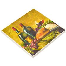 """3.75"""" Wine and Bread Design Naturally Absorbent Stone Beverage Coaster, Set of 4"""