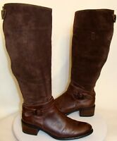 J.JILL WOMENS BROWN LEATHER SUEDE TALL BOOTS SIZE 7M  C132