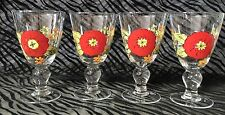 4 Hand Painted Red Zinnia Footed Wine~Water~Iced Tea Goblets 6 & 3/4 inches Tall