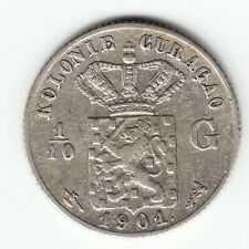 CURACAO 1/10 Gulden 1901 KM36 Ag.640 1-yr type ABOVE AVERAGE minted 300,000 RARE