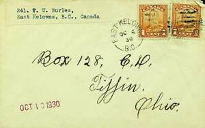 CANADA 1930 KG V 1c 2v ON COVER FROM EAST KELOWNA TO OHIO USA