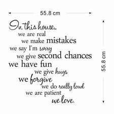 Wall Quote Decal Vinyl Sticker Decor Family House Rules Removable US Stock