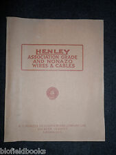 Vintage Electrical Trade Catalogue for Henley Wires & Cables - 1927 - Nonazo