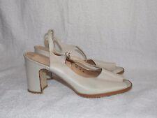 Bandolino CREAM/BEIGE Leather Peep Toe Slingbacks Heels 7M For Women Used