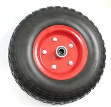 "2 x 13"" 330mm Hand Trolley Wheels Tyre Red Rim 16mm Bore Puncture Proof No Flat"