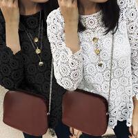 Women Fashion Lace Crochet Loose Blouse Long Sleeve White Shirt Top UK Size 8-26