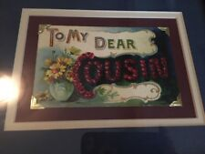 "Professionally Framed Vintage Postcard ""To My Dear Cousin"" Blue Wine And Yellow"