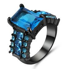 New Blue Topaz Birthstone 14K Black Gold Filled Wedding Bridal Ring Gift Size 7