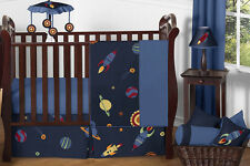 Bumperless Navy Blue Outer Space Stars Planets Theme Baby Boy Bedding Crib Set