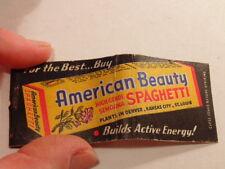 Vintage advertising matchbook:  American Beauty Spaghetti