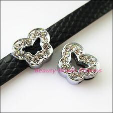 8Pcs Crystal Rhinestone Slide Butterfly Beads Charms Wristband Bracelets 12x14mm