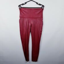 Spanx Faux Leather Leggings 1X in Crimson Red