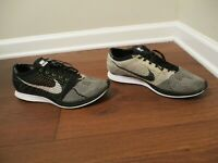 Used Worn Size 12 Nike Flyknit Racer Shoes Black White Volt 526628 011