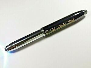 3 in 1 Kugelschreiber mit Wunsch Gravur Led Licht Touch Pen Edel Schwarz Silber