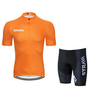 Mens Short Sleeve Cycling Jersey Bib Shorts Breathable Rear Pockets Full Zipper