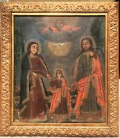 LARGE 18thC SPANISH COLONIAL RELIGIOUS ALTAR OIL PAINTING on CANVAS, HOLY FAMILY