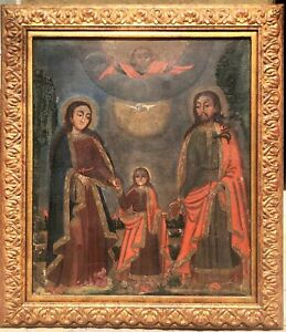 18thC SPANISH LARGE COLONIAL RELIGIOUS ALTAR OIL PAINTING on CANVAS, HOLY FAMILY