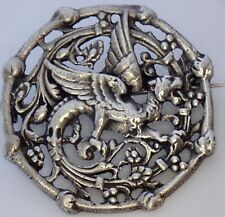 ANTIQUE PERUZZI 800 FINE SILVER MYTHOLOGICAL WINGED LION OR DRAGON BROOCH
