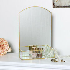 Gold dressing table tabletop vanity mirror storage trinket box holder vintage