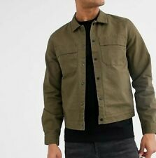 Topman Mens shacket in khaki Overshirt Fit RRP £39.00