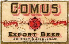 Pre-Prohibition Schmidt Ziegler Comus Beer New Orleans Label Tavern Trove