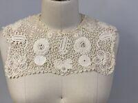 "Antique Irish Raised Crochet Lace Collar Square  12"" wide Ecru Mums"