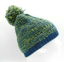 NEW BLUE AND YELLOW BEANIE WINTER HAT KNITTED POM MAN WOMAN WARM FLEECE LINING