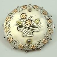 Victorian Antique Silver Yellow & Rose Gold Sweetheart Brooch 1893