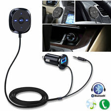 3.5mm Inalámbrico Coche Bluetooth AUX Adaptador de manos libres MP3 USB Cargador