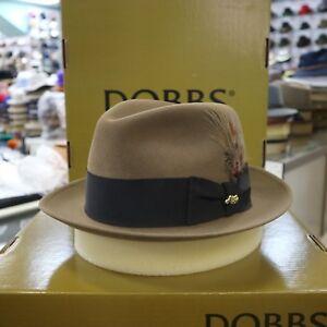 DOBBS JET CORNHILL (CAMEL) FUR FELT FEDORA DRESS HAT