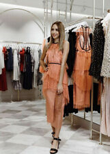 ALICE McCALL Gold Embroidered Apricot Mesh Midi Dress AU10 Fits AU8 Petite $450