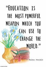 """Small 13""""×19""""  Motivational Poster: NELSON MANDELA  Education is Powerful Weapon"""