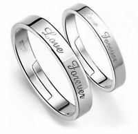 925 Sterling Silver Love Forever Engraved Adjustable Ring Womens Mens Jewellery