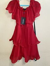 Pretty Little Thing Short Red Ruffle Off The Shoulder Dress Womens 10 NWT