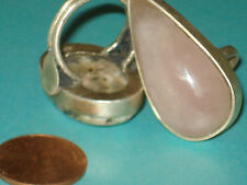 W/Rose Quartz & Pink Jasper Cabochons Jewelry Lot Of 2 Rings Sterling Silver