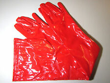 Red Glossy PVC Long Gloves, Medium