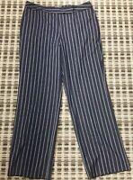 Women's Size 14 Dark Navy / White Striped Stretch Dress Pants by Talbot